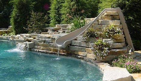 Pool Features | Rock Waterfall with Slide