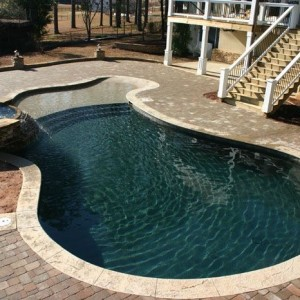 Concrete Spill-Over | Custom Pool Builder | Paver Deck | Tanning Ledge | Statesboro, GA | Thompson Pools