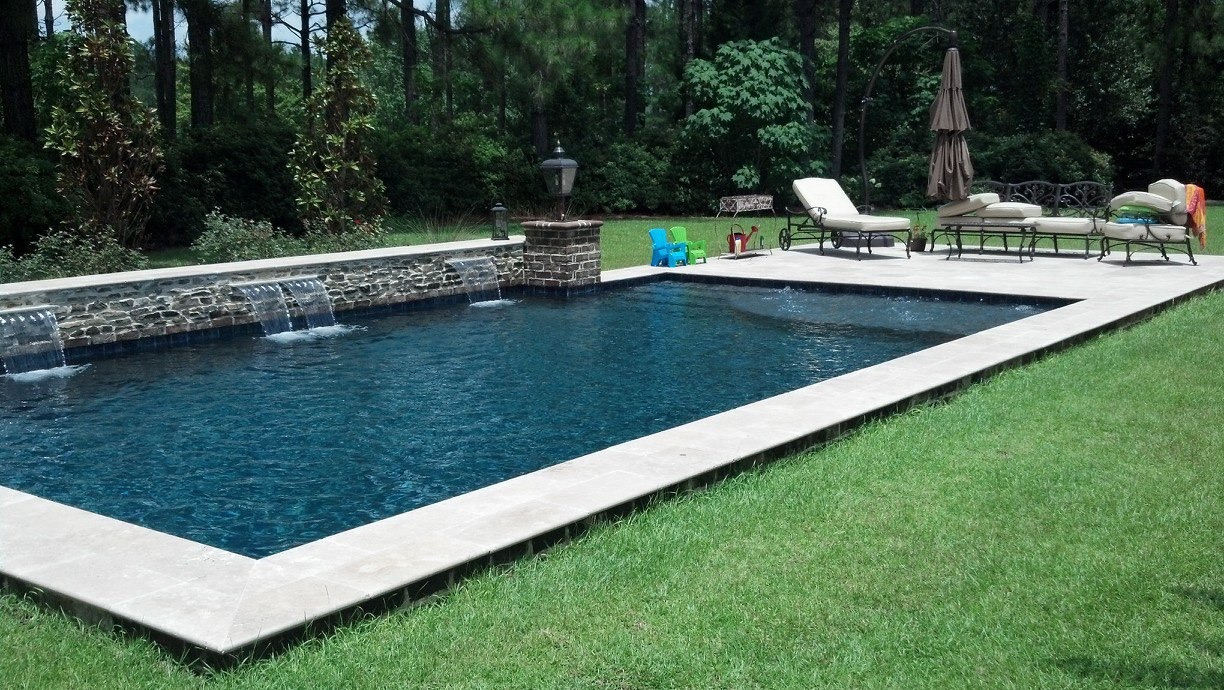 Concrete Spill Over | Custom Pool Builder | Water feature | Custom Concrete Pool | Statesboro, Ga | Thompson Pools